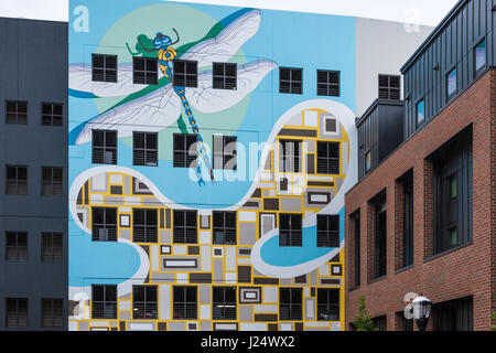 Dragonfly wall mural at The Local on 14th in Midtown Atlanta, Georgia, USA. - Stock Photo