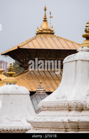 Closeup of the roof of the Golden Temple at Pashupatinath. Kathmandu, Nepal. - Stock Photo