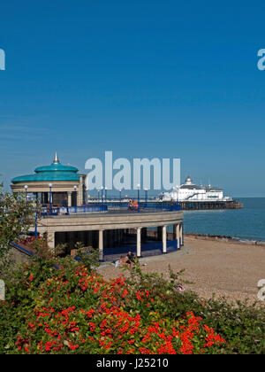 The Colourful Eastbourne Seafront with its iconic Bandstand and Pier, Eastbourne, East Sussex, England, UK - Stock Photo