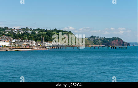 The resort town of Teignmouth in South Devon viewed from across The River Teign Estuary from Shaldon, England, UK - Stock Photo