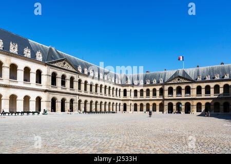 Courtyard (Cour d'honneur) at Les Invalides, Paris, France - Stock Photo
