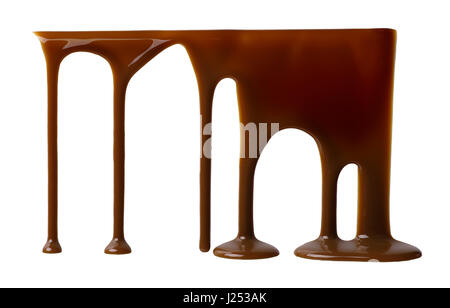 Liquid chocolate flowing down isolated on white background - Stock Photo