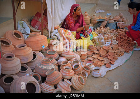 Clay pots for sale on a street in Gujarat, India - Stock Photo