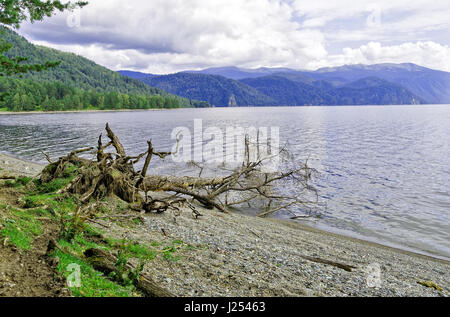 Siberia, end of summer. Teletskoye lake, view of Cape Chicilgan