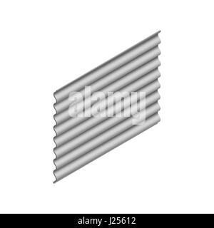 Wave slate sheet isolated on white background, vertical arrangement. Element of the design of building materials. - Stock Photo