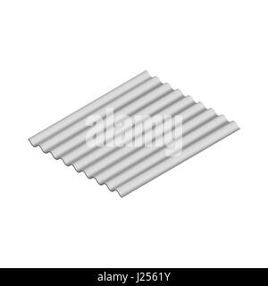 Wave slate sheet isolated on white background, horizontal arrangement. Element of the design of building materials. - Stock Photo
