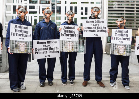 London, UK. 24 April 2017. To mark World Day for Animals in Laboratories, PETA members gathered outside the Home - Stock Photo
