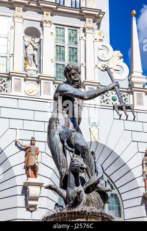 Neptune's Fountain in the centre of Gdansk, Poland - Stock Photo