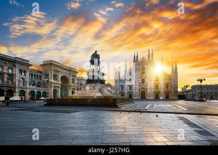 Duomo at sunrise, Milan, Europe. - Stock Photo