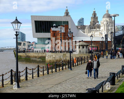 Albert Dock Parade, Liverpool, next to the river Mersey. Showing the Royal Liver building, Port of Liverpool building - Stock Photo