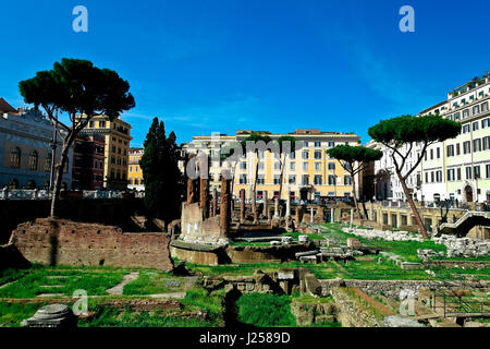 Largo di Torre Argentina, a square containing the remains of four Republican Roman temples. History, heritage Rome, - Stock Photo
