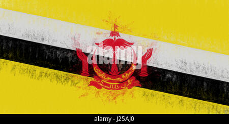 Illustration of the flag of Brunei with a grunge look. - Stock Photo