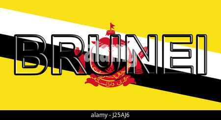 Illustration of the flag of with Brunei the country written on the flag. - Stock Photo