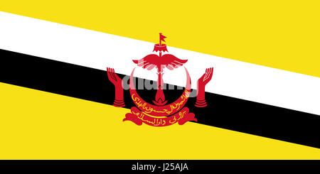 Illustration of the flag of Brunei. - Stock Photo