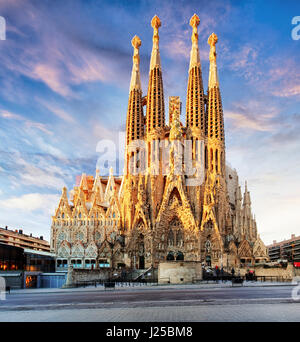 BARCELONA, SPAIN - FEB 10: View of the Sagrada Familia, a large Roman Catholic church in Barcelona, Spain, designed - Stock Photo