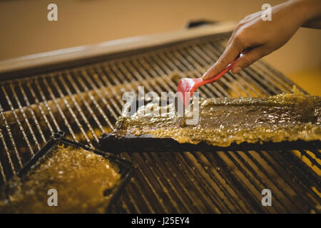 Close-up of beekeeper extracting honey from honeycomb in apiary - Stock Photo