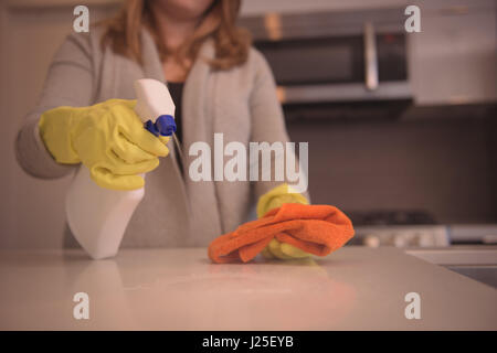 Midsection of woman spraying cleaning agent on kitchen island - Stock Photo