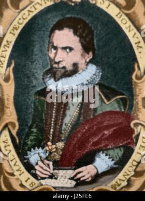 John Napier (1550-1617). Scottish mathematician, physicist, and astronomer. Portrait. Engraving. Colored. - Stock Photo