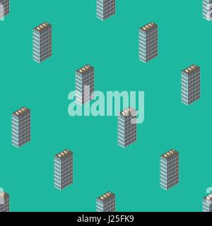 City seamless pattern. Isometric buildings 3d low poly. Vector illustration. Abstract wallpaper wirh modern houses. - Stock Photo