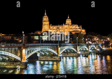 Beautiful view of the historic city of Salamanca with New Cathedral and Enrique Esteban bridge at night, Castilla - Stock Photo