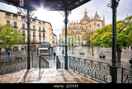 Plaza Mayor with Catedral de Santa Maria de Segovia in the background in the historic city of Segovia, Castilla - Stock Photo