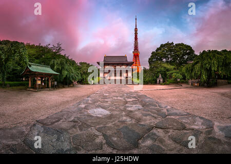 Zojo-ji Temple and Tokyo Tower in the Morning, Tokyo, Japan - Stock Photo