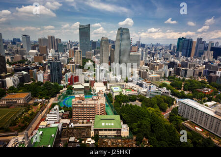 TOKYO, JAPAN - JUNE 10: View at modern skyscrapers in Roppongi district in Minato, Tokyo at June 10, 2015. This - Stock Photo