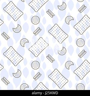 Cookie line icon seamless vector pattern. - Stock Photo