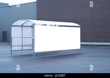 Mock up. Shoping trolley bay in a parking lot near supermarket - Stock Photo