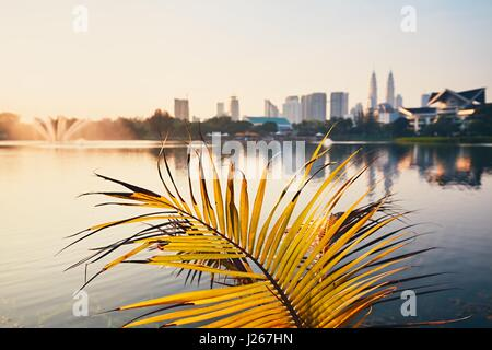 Beautiful morning in public park in Kuala Lumpur. Skyline of the modern city at sunrise. Selective focus on the - Stock Photo