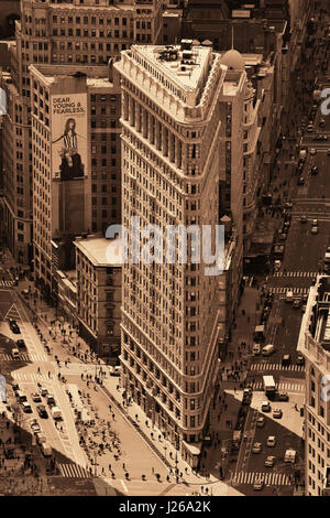 NEW YORK CITY, NY - MAR 30: Flatiron Building rooftop view on March 30, 2014 in New York City. Flatiron building - Stock Photo