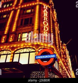 London underground sign by Harrods, London, England, UK - Stock Photo