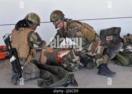 Realistic Emergency Drill for French Reservist Medical Personnels at La Valbonne military camp... - Stock Photo