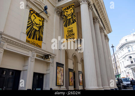 Banner advertising The Lion King musical at the Lyceum Theatre in London, England, UK, Europe - Stock Photo