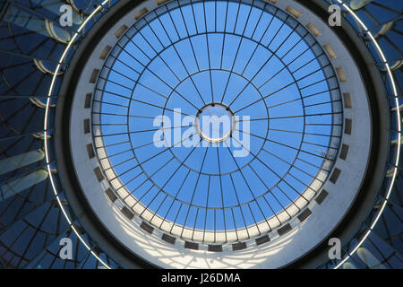 Glass dome ceiling at the Schirn Kunsthalle Museum of Modern Art, Frankfurt am Main, Germany, Europe - Stock Photo