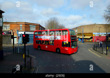 Red double decker bus in London, England, UK, Europe - Stock Photo