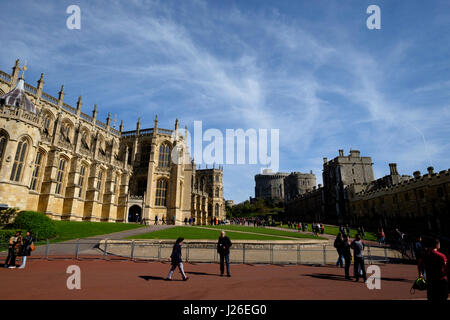 St. George's Chapel, Lower Ward and Round Tower at Windsor Castle, Windsor, England, United Kingdom - Stock Photo