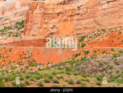 Part of the Rim Rock Drive, the road going through the Colorado National Monument, in front of a red cliff. - Stock Photo