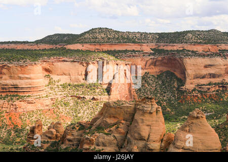 The rock formation called the Coke Ovens in the Colorado National Monument. - Stock Photo