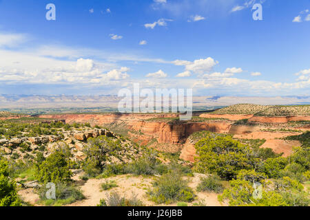 Part of the Colorado National Monument with the Book Cliffs in the back. - Stock Photo