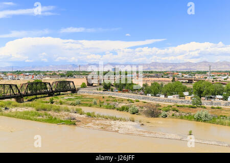 Grand Junction, USA - May 28, 2016: Railroad bridge over the confluence of the Gunnison River and Colorado River - Stock Photo