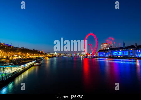 London Eye on the Thames with reflection, illuminated, night shot, London, London region, England, United Kingdom - Stock Photo