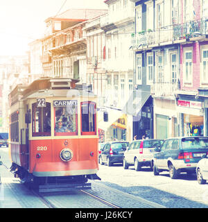 Porto, Portugal - May 12, 2012:  Old tram in downtown of Porto - Stock Photo