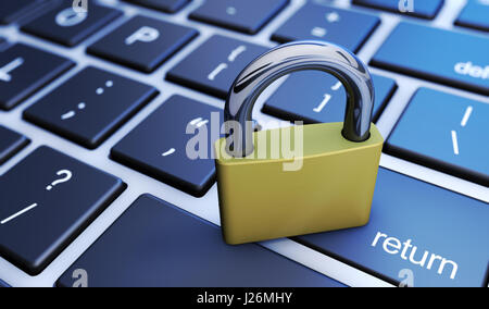 Online digital data and cyber security concept with a closed padlock on a computer keyboard 3D illustration. - Stock Photo