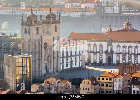 Porto cathedral, the west front and terrace of Porto Cathedral, the Se, at the centre of the Old Town area viewed - Stock Photo