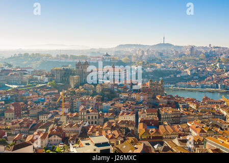 Porto Portugal cityscape, view in summer of the cathedral (Se) and old town area in the center of Porto, Portugal, - Stock Photo