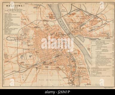 Warsaw I town/city plan miasta mapa. Poland. Warszawa. BAEDEKER 1912 old - Stock Photo