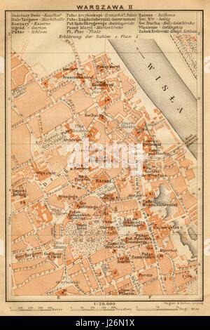 Warsaw II town/city centre plan miasta mapa. Poland. Warszawa. BAEDEKER 1912 - Stock Photo