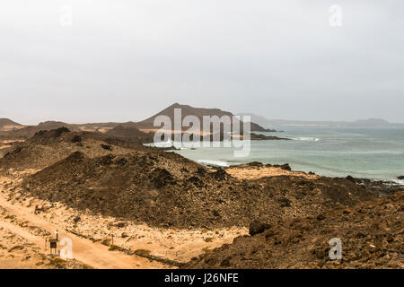 The Isla de Lobos in Fuerteventura, Spain with the typical moon like volcanic landscape of the island. - Stock Photo
