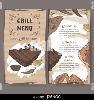 Color vintage grill restaurant menu template with hand drawn sketch - Stock Photo